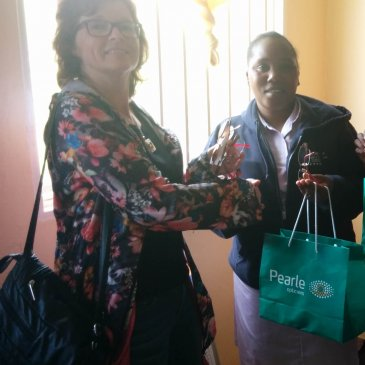 Donating Second-Hand Glasses at Bwama Health Centre.